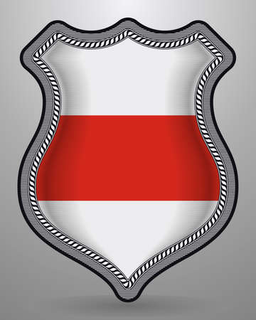 Belarus. Historical White-Red-White Flag. Vector Badge and Icon with Central Glossy National Symbol Illusztráció