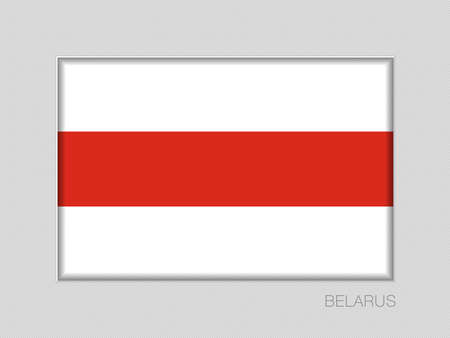 Belarus. Historical White-Red-White Flag. National Ensign Aspect Ratio 2 to 3 on Gray Cardboard Illusztráció
