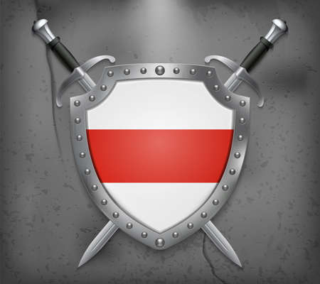 Belarus. Historical White-Red-White Flag. Shield with National Flag. Two Crossed Swords. Vector Medieval Background