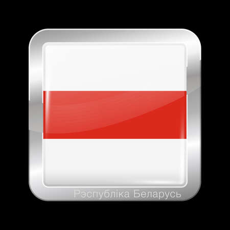 Belarus. Historical White-Red-White Flagwith Country Name Written in Belarusian. Glossy and Metal Icon Square Shape. Vector Button Illusztráció