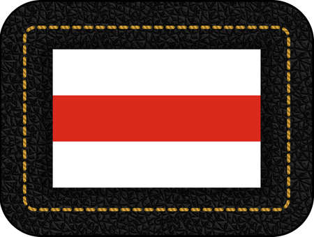 Belarus. Historical White-Red-White Flag. Vector Icon on Black Leather Backdrop Illusztráció