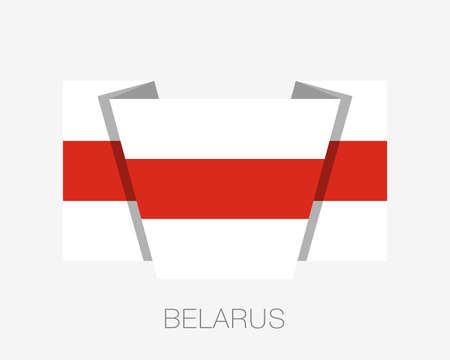 Belarus. Historical White-Red-White Flag. Flat Icon Waving Flag with Country Name on a White Background Illusztráció