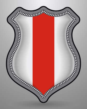 Belarus. Historical White-Red-White Vertical Flag. Vector Badge and Icon with Central Glossy National Symbol
