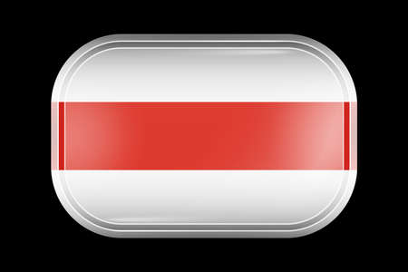 Belarus. Historical White-Red-White Flag. Matted Vector Icon. Vector Rectangular Shape with Rounded Corners Illusztráció