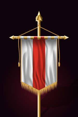 Belarus. Historical White-Red-White Flag. Festive Vertical Banner. Wall Hangings with Gold Tassel Fringing