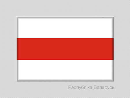 Belarus. Historical White-Red-White Flag with Country Name Written in Belarusian. National Ensign Aspect Ratio 2 to 3 on Gray Cardboard