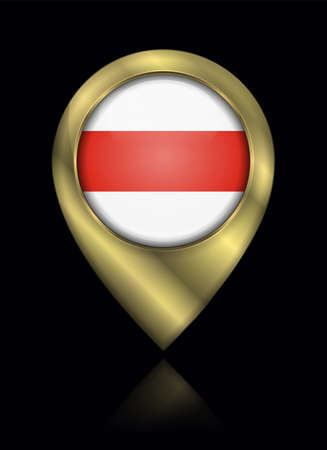 Belarus. Historical White-Red-White Flag. Vector Sign and Icon. Location Symbol Shape. Gold Isolated