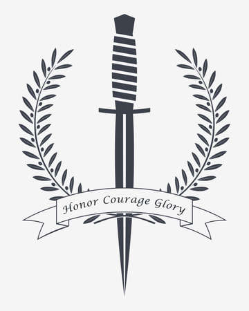 Crossed Daggers. Crossed Combat Knives. Emblem Silhouette. Ribbon with Copyspace Area for Your Text or Slogan. Stock Illustratie