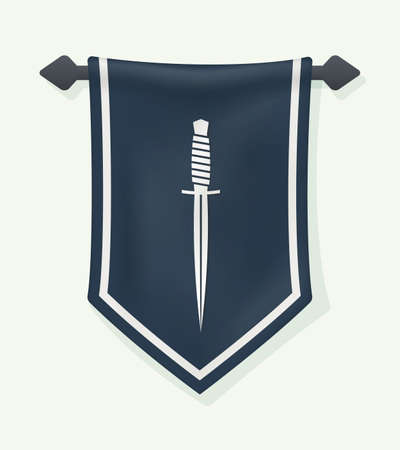 Cartoon Banner. Dagger Silhouette on Hanging Wall Pennant. Vertical Textile Flag with Knife Sign.