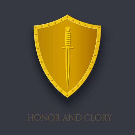 Dagger on Shield. Gold Emblem Military Combat Knife.