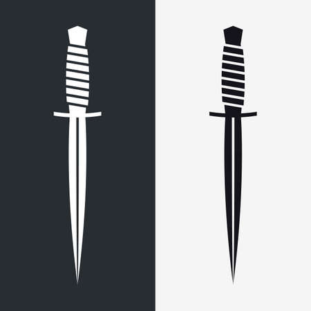 Dagger Silhouette on Light and Dark Background. Military Combat Knife. Simple Sign That Can Be Integrated Into Any of Your Design Projects. Vektorgrafik