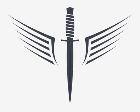Dagger with Wings. Winget Military Combat Knife. Simple Silhouette That Can Be Integrated Into Any of Your Design Projects. 矢量图像