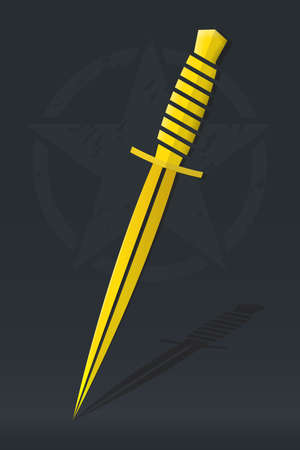 Dagger Gold Emblem. Military Combat Knife. Isolated Icon on Dark Background with Star