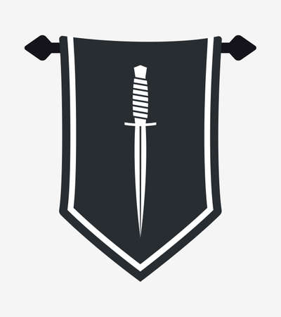 Dagger Silhouette on Hanging Wall Pennant. Military Combat Knife. Vertical Textile Flag, Heraldic Template.