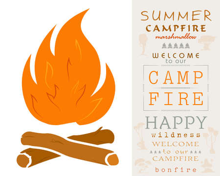Simple Campfire. Bonfire with Firewood. Ready Lettering for Your Design Stock Illustratie