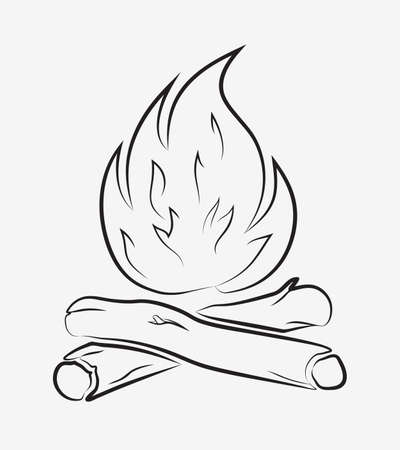 Campfire Outline. Bonfire and Firewood. Simple Element That You Can Use in Any of Your Design Projects.
