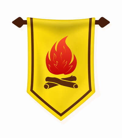 Cartoon Banner with Campfire. Bonfire and Firewood on Hanging Wall Pennant. Vertical Textile Flag with Camping Emblem.