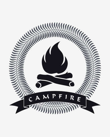 Campfire Silhouette. Framed Bonfire. Ribbon with Copyspace Area for Your Text or Slogan. Stock Illustratie