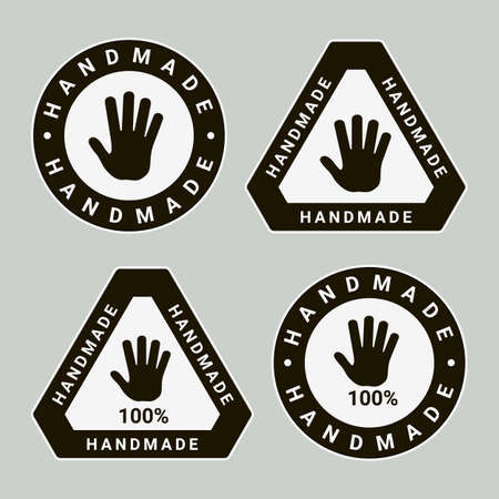 Handmade Circle and Triangle Labels or Emblems with Calligraphy Inscription. Brand or Company Production Tags. Stickers for Handicraft Products 矢量图像