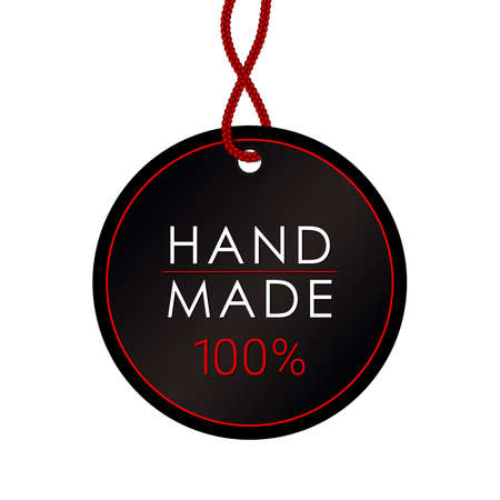 Handmade Label or Emblem with Calligraphy Inscription. Brand or Company Production Tag. Sticker for Handicraft Product