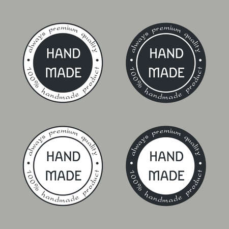Handmade Labels or Emblems with Calligraphy Inscription. Brand or Company Production Tags. Stickers for Handicraft Products