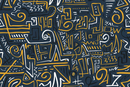 Seamless Stylized African Pattern. Ethnic and Tribal Motifs. Can Be Used for Textile, Prints, Phone Case, Greeting Card or Background