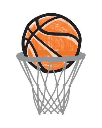 Hand Drawn Basketball Ball in Basket. Vector Icon