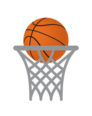 Basketball Basket and Ball Vector Icon. Isolated 矢量图像