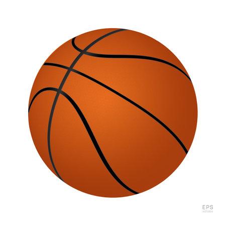 Basketball Vector Icon. 3D Orange Basket Ball. Half-Turn View 矢量图像