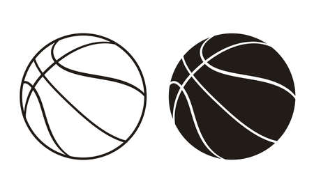 Silhouette and Outline Basket Ball Vector Icon. Half-Turn View