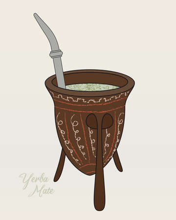 Yerba Mate Tea. Decorated Calabash for Argentine Tradition Beverage. Vector Illustration