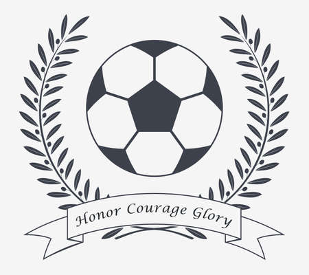 Football Vector Icon. Emblem Soccer Ball. Soccer Club  . Ribbon with Copy space Area for Your Text or Slogan. Logo or Tattoo. Sticker or Patch for Jackets, Shirt and T-Shirts