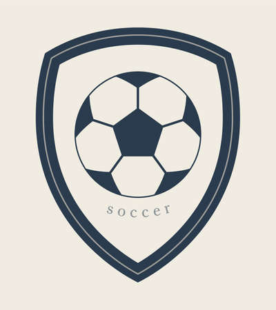 Football Vector Icon. Emblem Soccer Ball. Soccer Club  . Ribbon with Copy space Area for Your Text or Slogan. 矢量图像
