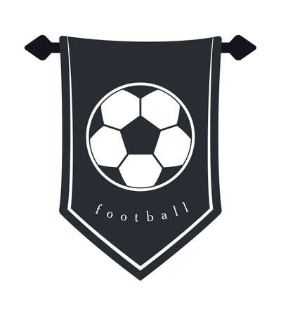 Soccer Ball Silhouette on Hanging Wall Pennant. Football Vector Icon.