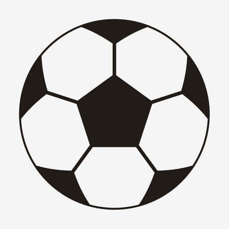 Football Vector Icon. Black and White Simple Soccer Ball. Front View