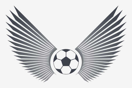 Soccer Ball with Wings. Winged Football Vector Emblem.