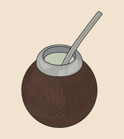 Yerba Mate Tea. Decorated Calabash for Argentine Tradition Beverage