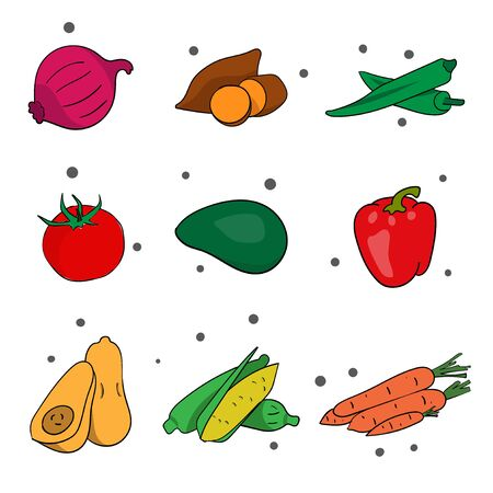 hand drawings of vegetables and fruits