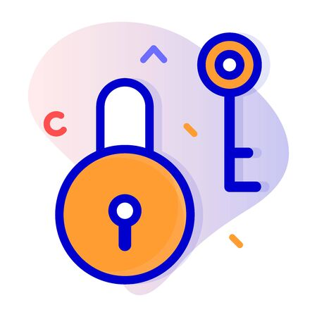 padlock icon with blue stripe style