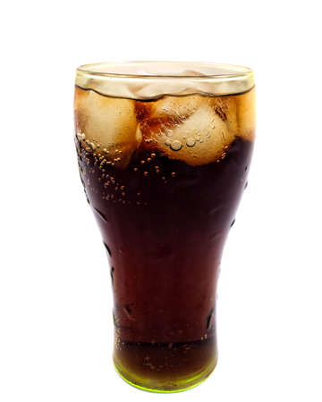 Glass of Cola with ice on a white background