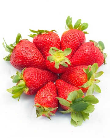 A crown of nine strawberries ona white background Stock Photo