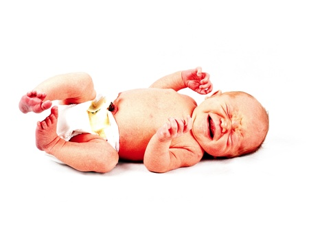 a newborn baby born isolated on white crying