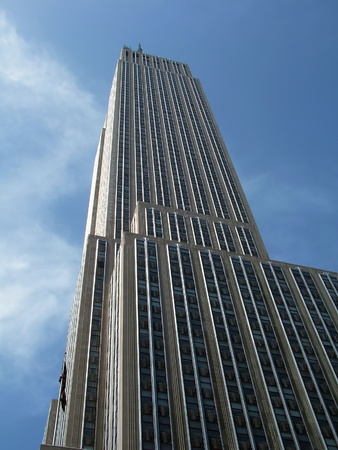 Looking up from the street at the empire state