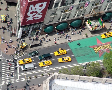 macys: Macys department store and sixth avenue from above Editorial