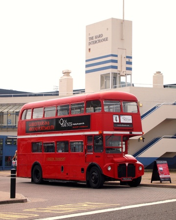 Red double decker waiting at the hard interchange, portsmouth, 280711