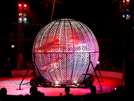 Zippos Circus, 01092011 Globe of Death containing three motorcycles