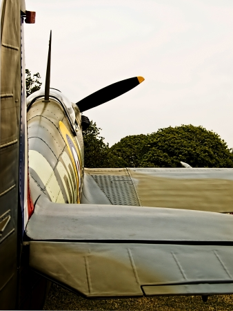 world war two: Spitfire on the ground from the tail