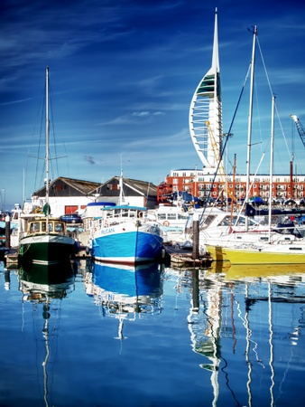Camber Docks, Portsmouth, 2012, fishing boats berthed in front of the spinnaker tower