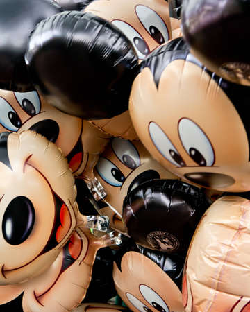 Disneyland Paris, France, March 5th 2012, A bunch of Mickey mouse Balloons tied together