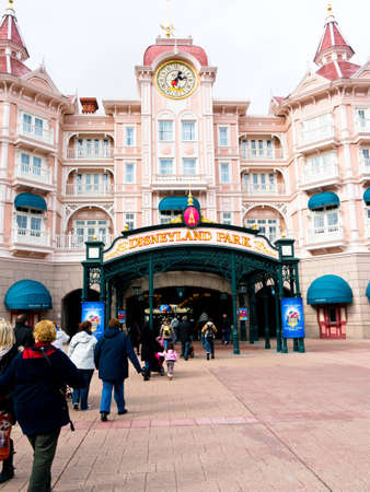 Disneyland Paris, March 06 2012, Entrance to Disneyland park Paris, Editorial